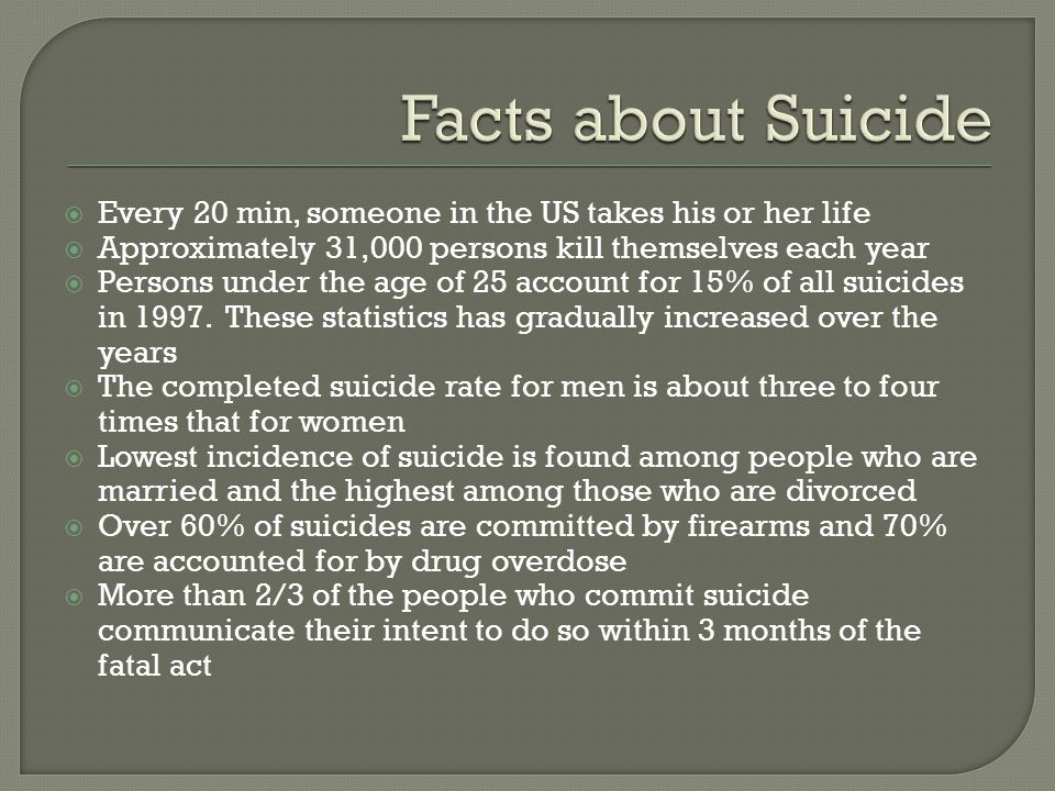  Every 20 min, someone in the US takes his or her life  Approximately 31,000 persons kill themselves each year  Persons under the age of 25 account for 15% of all suicides in 1997.