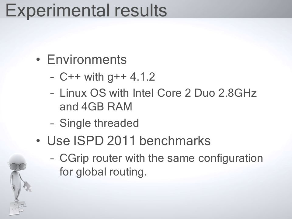 Experimental results Environments –C++ with g++ 4.1.2 –Linux OS with Intel Core 2 Duo 2.8GHz and 4GB RAM –Single threaded Use ISPD 2011 benchmarks –CGrip router with the same configuration for global routing.