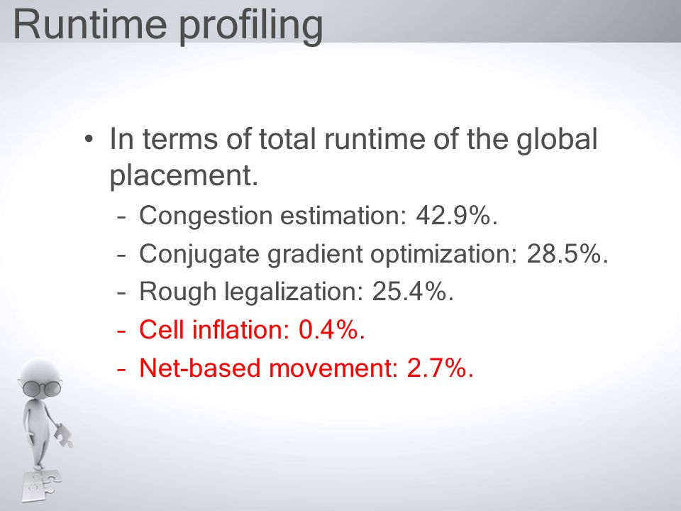 Runtime profiling In terms of total runtime of the global placement.