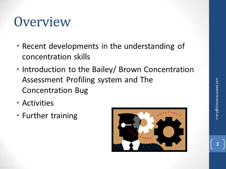 Overview Recent developments in the understanding of concentration skills Introduction to the Bailey/ Brown Concentration Assessment Profiling system