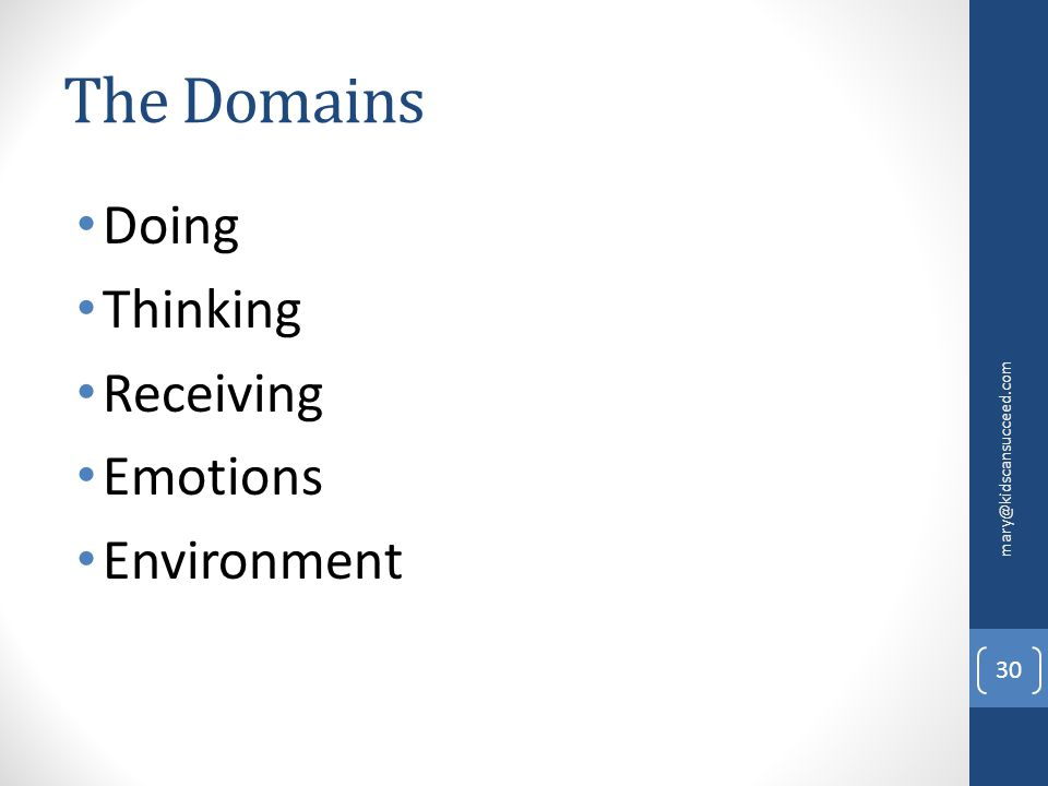 The Domains Doing Thinking Receiving Emotions Environment mary@kidscansucceed.com 30