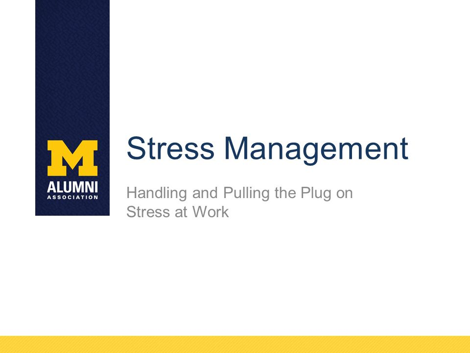 Stress Management Handling and Pulling the Plug on Stress at Work