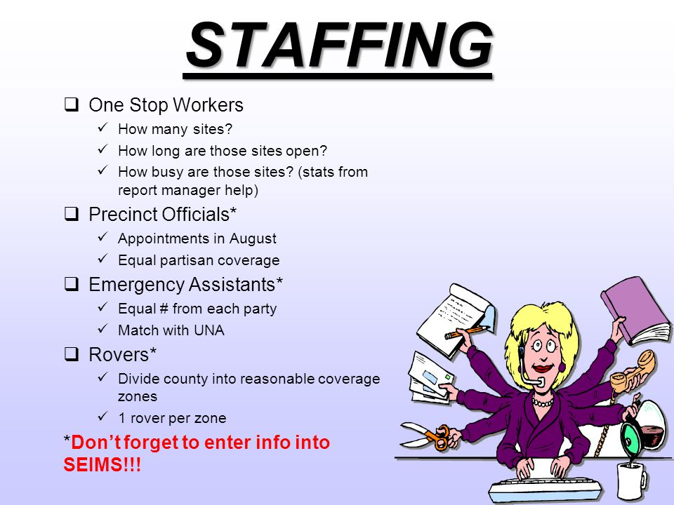 STAFFING  One Stop Workers How many sites. How long are those sites open.