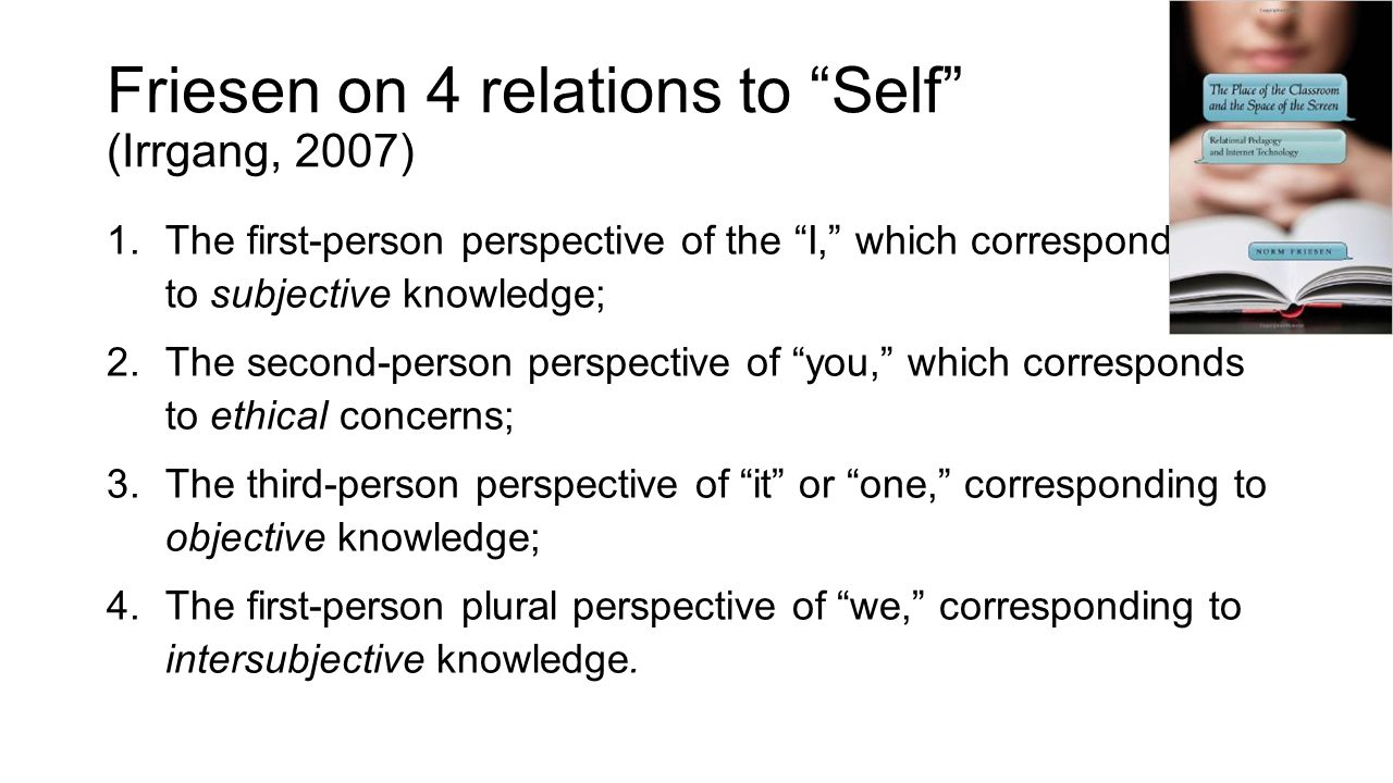 Friesen on 4 relations to Self (Irrgang, 2007) 1.The first-person perspective of the I, which corresponds to subjective knowledge; 2.The second-person perspective of you, which corresponds to ethical concerns; 3.The third-person perspective of it or one, corresponding to objective knowledge; 4.The first-person plural perspective of we, corresponding to intersubjective knowledge.