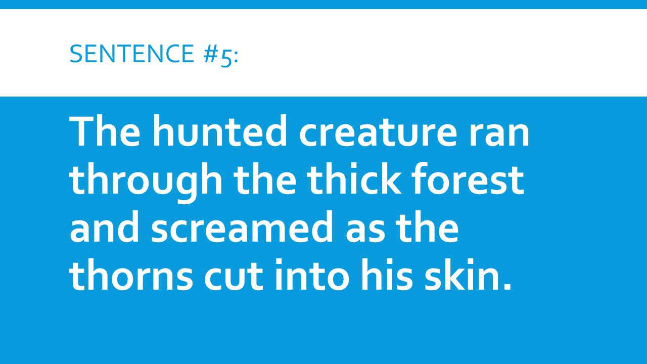 SENTENCE #5: The hunted creature ran through the thick forest and screamed as the thorns cut into his skin.