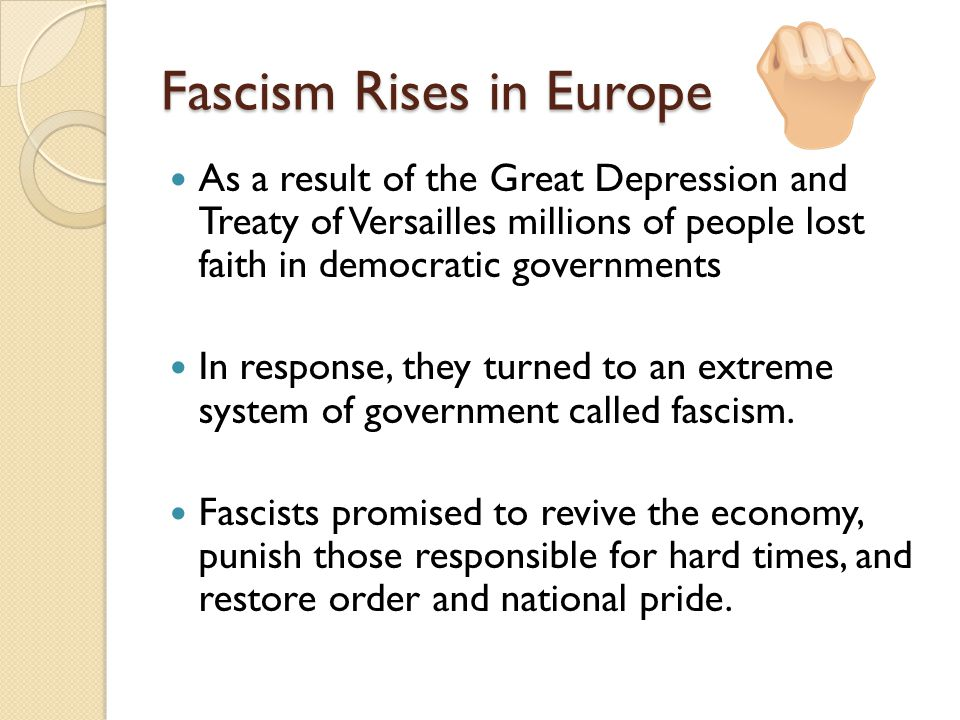 Fascism Rises in Europe Fascism was a militant political movement that emphasized loyalty to the state and obedience to its leader They preached an extreme form of nationalism, or loyalty to one's country.