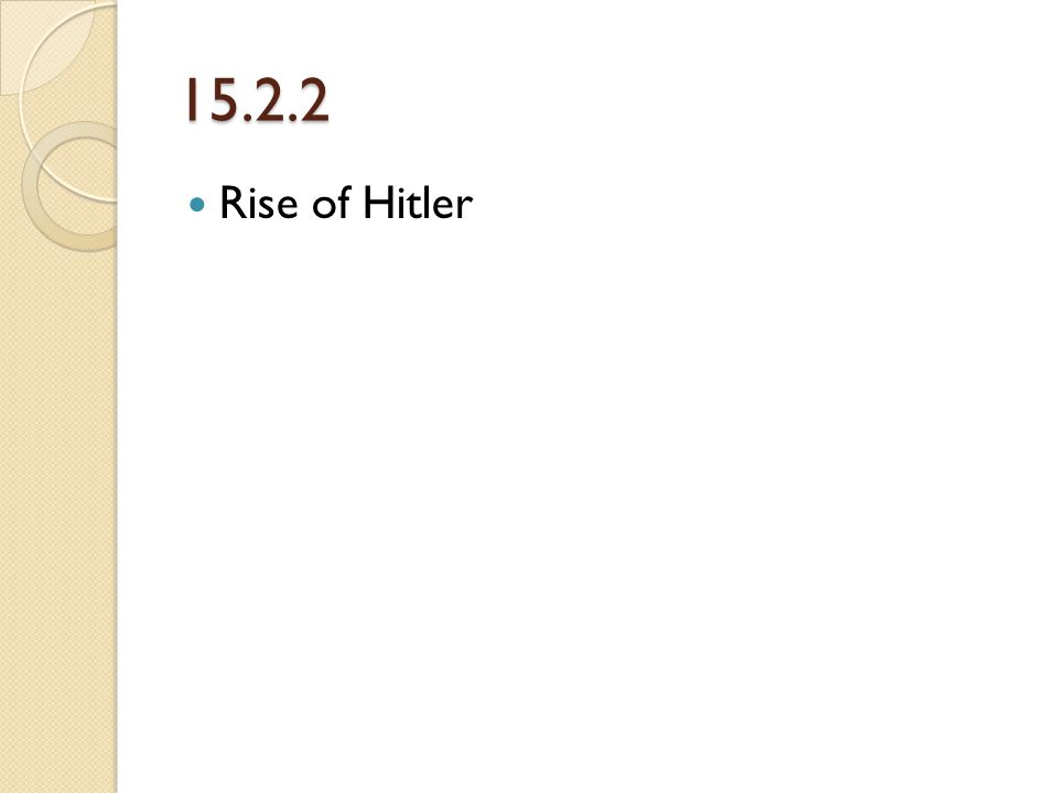 Hitler Rises to Power in Germany Hitler believed that the Germans, were a master race. He said other races, were inferior.