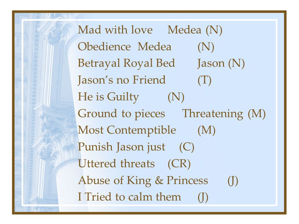 Mad with loveMedea (N) Obedience Medea(N) Betrayal Royal BedJason (N) Jason's no Friend(T) He is Guilty(N) Ground to pieces Threatening (M) Most Contemptible(M) Punish Jason just (C) Uttered threats(CR) Abuse of King & Princess(J) I Tried to calm them(J)