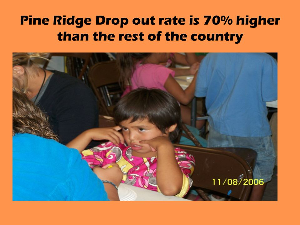 Pine Ridge Drop out rate is 70% higher than the rest of the country