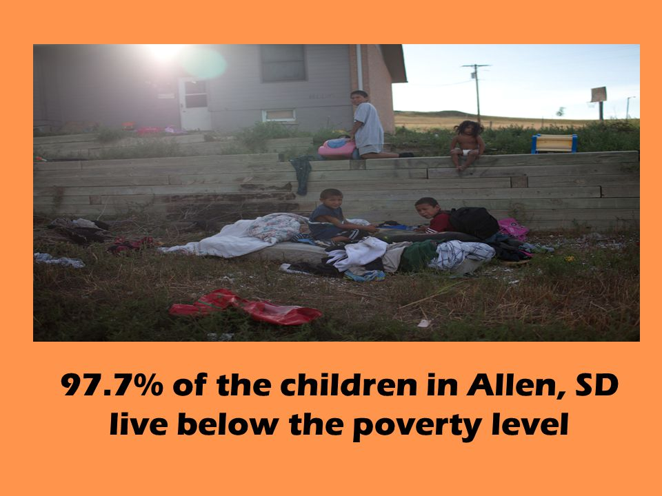 97.7% of the children in Allen, SD live below the poverty level