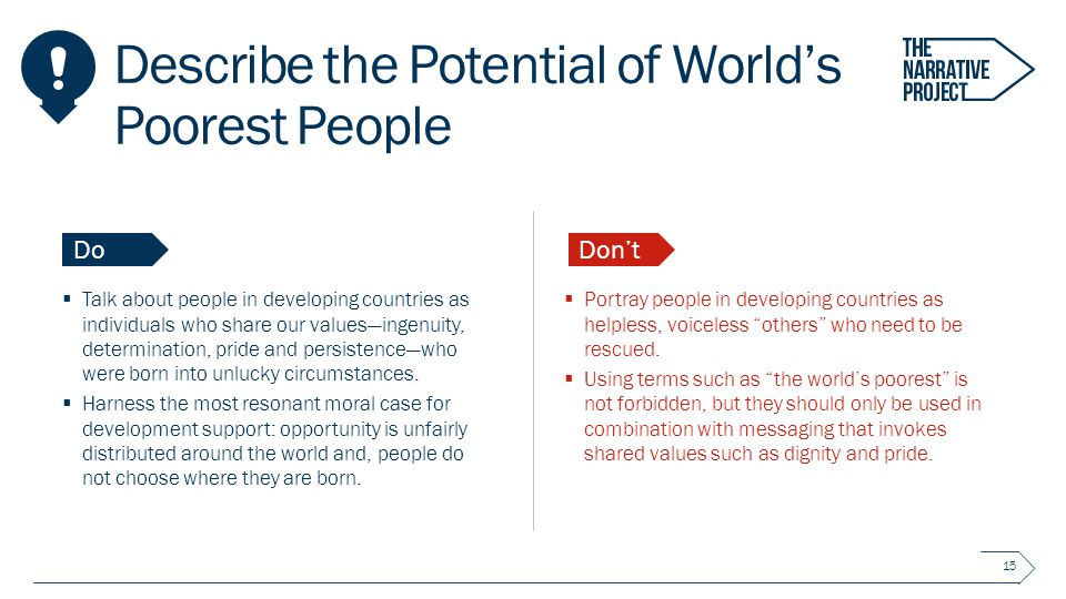 Describe the Potential of World's Poorest People  Talk about people in developing countries as individuals who share our values—ingenuity, determination, pride and persistence—who were born into unlucky circumstances.