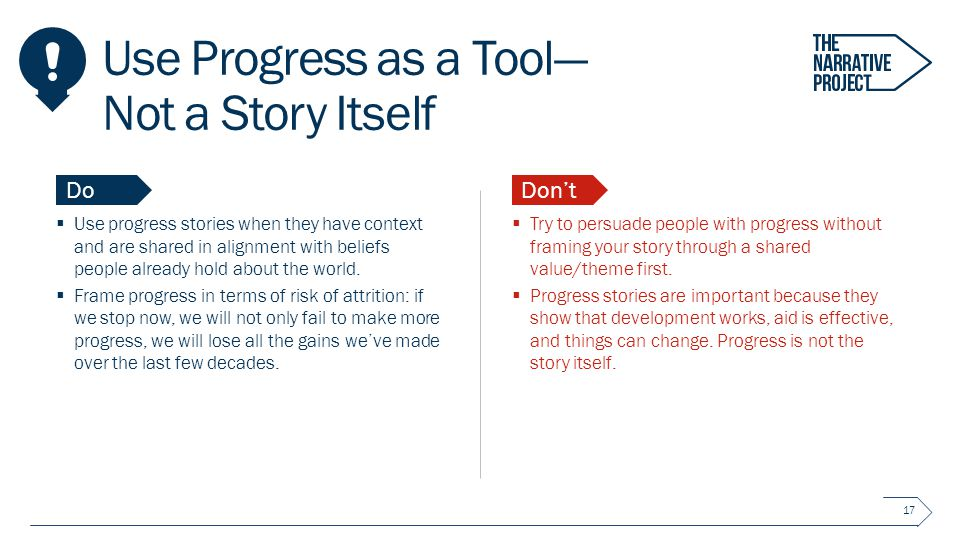 Use Progress as a Tool— Not a Story Itself  Use progress stories when they have context and are shared in alignment with beliefs people already hold about the world.