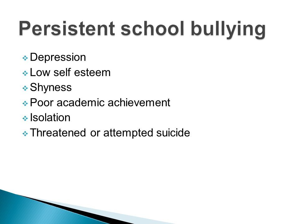  Depression  Low self esteem  Shyness  Poor academic achievement  Isolation  Threatened or attempted suicide
