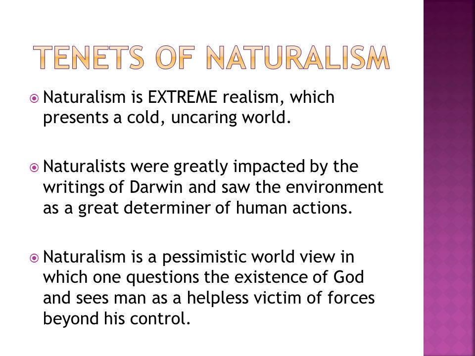  Naturalism is EXTREME realism, which presents a cold, uncaring world.