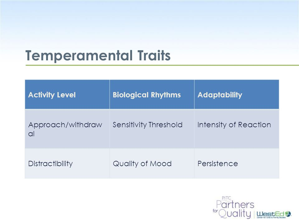 WestEd.org Temperamental Traits Flexible, Fearful, or Feisty: The Different Temperaments of Infants and Toddlers