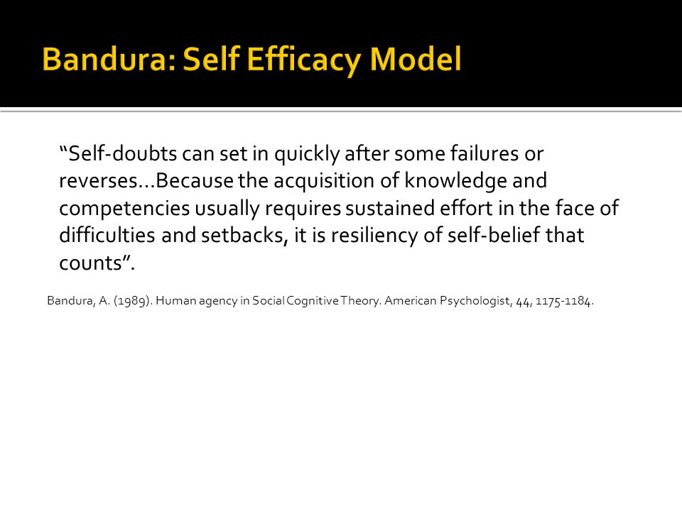 Can we do anything to improve a student's Self Efficacy?