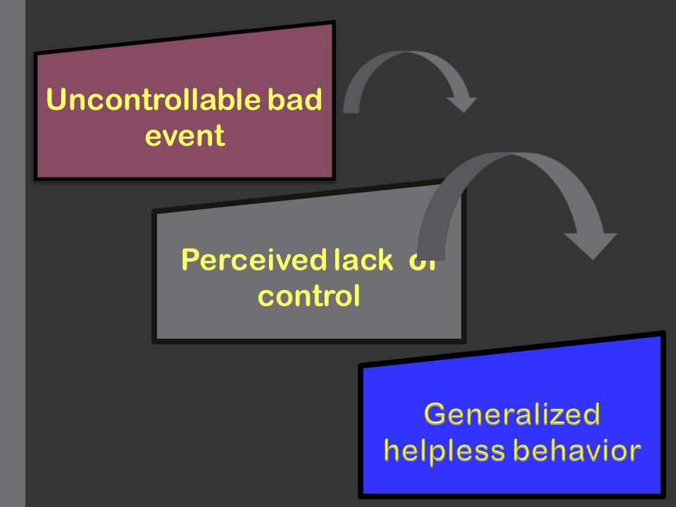 Uncontrollable bad event Perceived lack of control