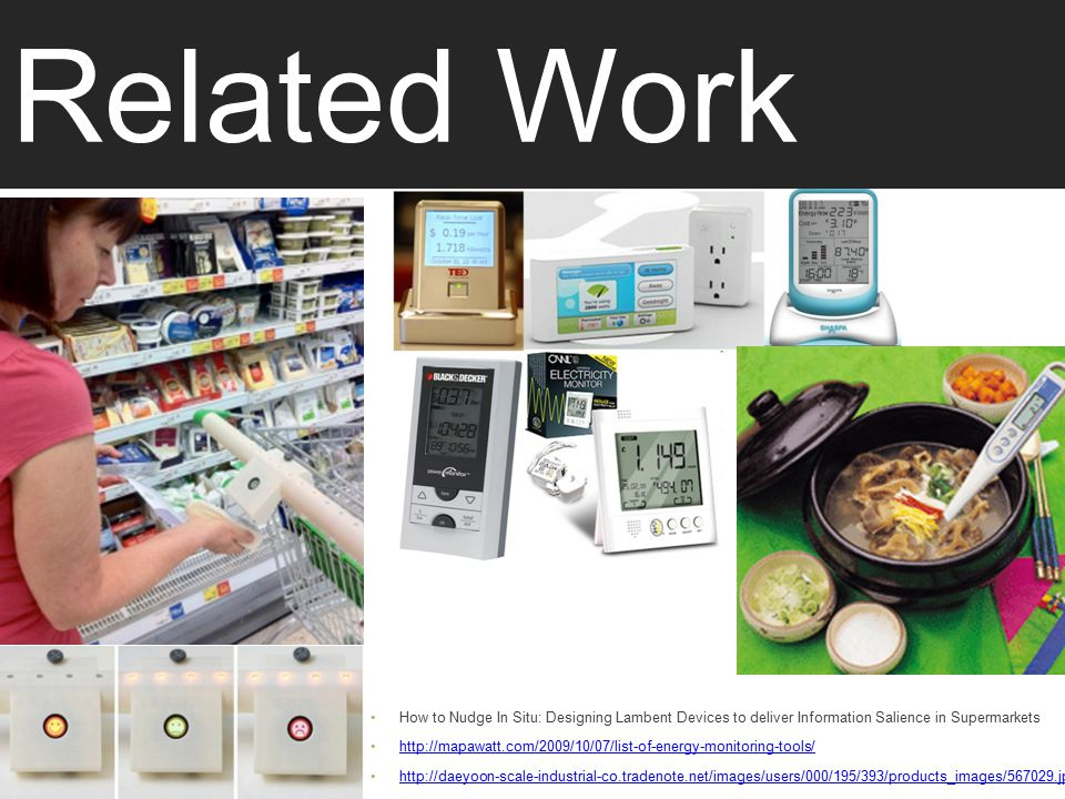 Related Work How to Nudge In Situ: Designing Lambent Devices to deliver Information Salience in Supermarkets http://mapawatt.com/2009/10/07/list-of-energy-monitoring-tools/ http://daeyoon-scale-industrial-co.tradenote.net/images/users/000/195/393/products_images/567029.jpg