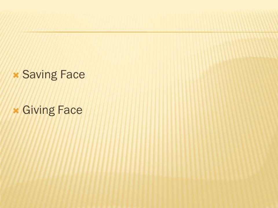  Saving Face  Giving Face
