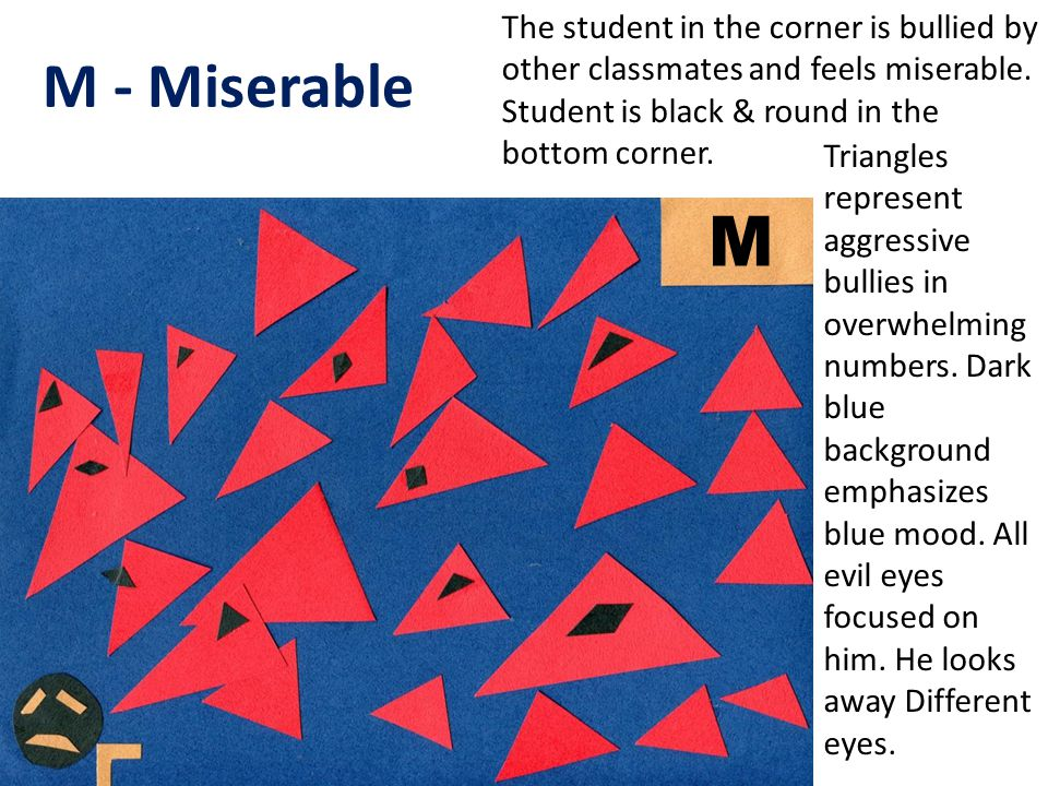 M - Miserable The student in the corner is bullied by other classmates and feels miserable.