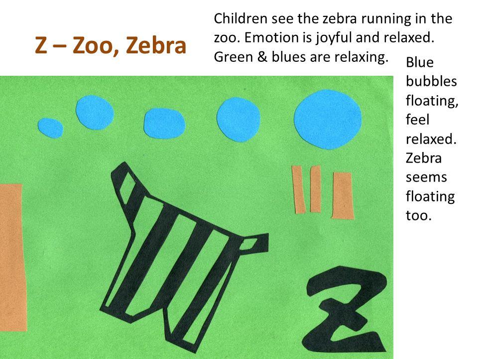 Z – Zoo, Zebra Children see the zebra running in the zoo.