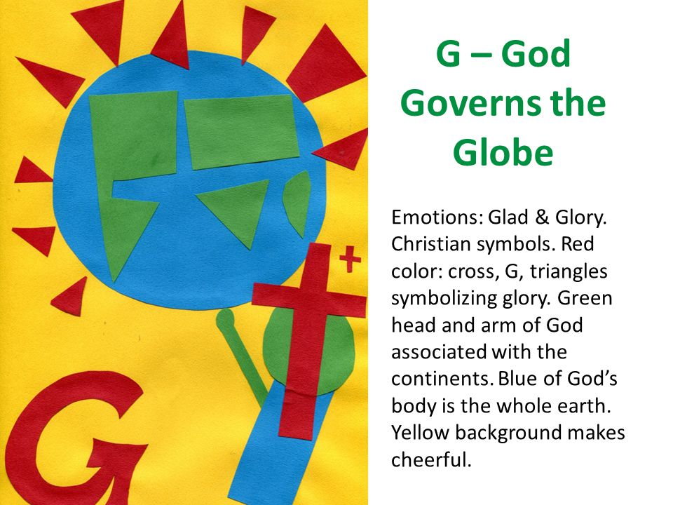 G – God Governs the Globe Emotions: Glad & Glory. Christian symbols. Red color: cross, G, triangles symbolizing glory. Green head and arm of God assoc
