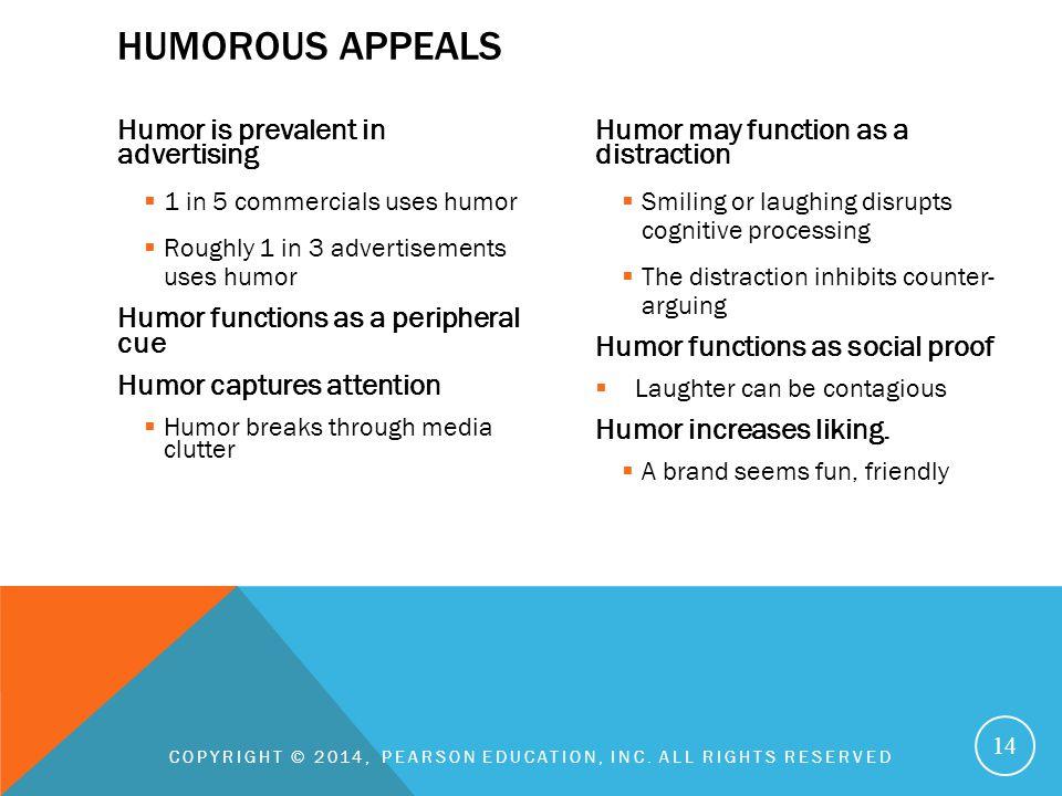 Humor is prevalent in advertising  1 in 5 commercials uses humor  Roughly 1 in 3 advertisements uses humor Humor functions as a peripheral cue Humor
