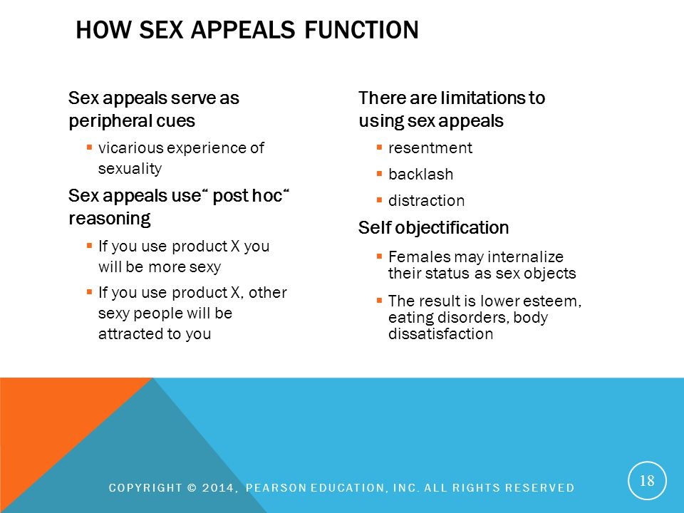 """Sex appeals serve as peripheral cues  vicarious experience of sexuality Sex appeals use"""" post hoc"""" reasoning  If you use product X you will be more"""