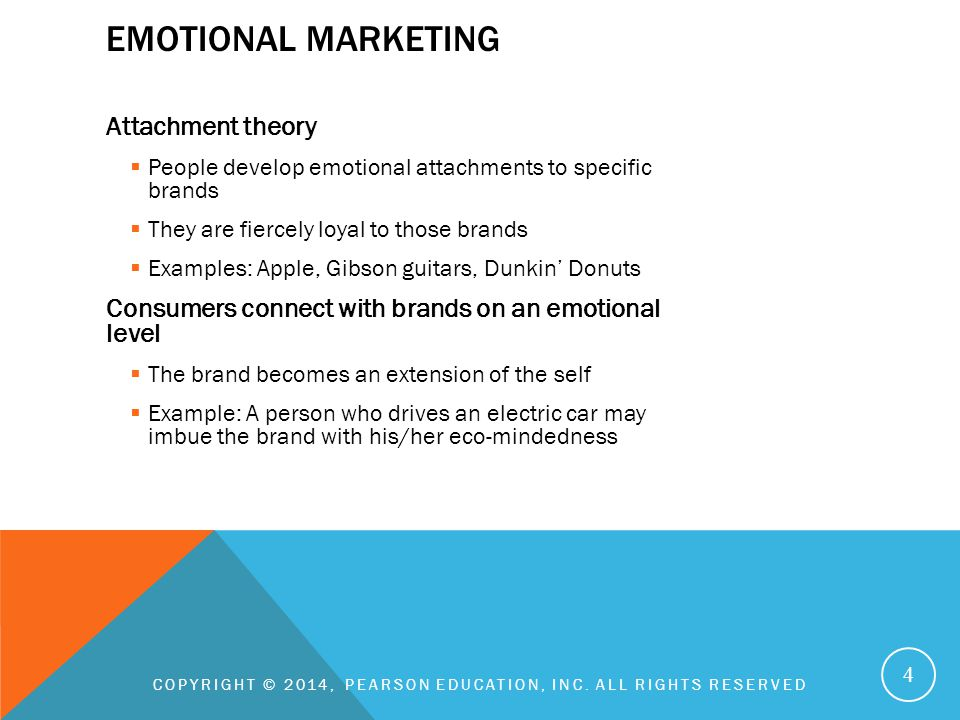 EMOTIONAL MARKETING Attachment theory  People develop emotional attachments to specific brands  They are fiercely loyal to those brands  Examples: