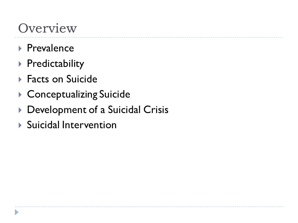 Overview  Prevalence  Predictability  Facts on Suicide  Conceptualizing Suicide  Development of a Suicidal Crisis  Suicidal Intervention