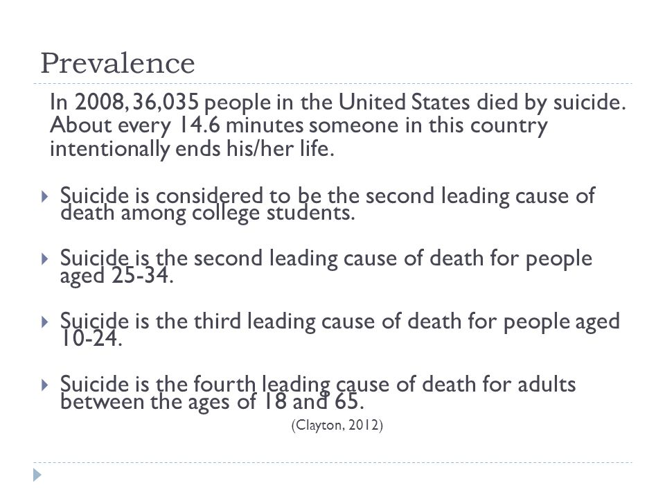 Prevalence In 2008, 36,035 people in the United States died by suicide.