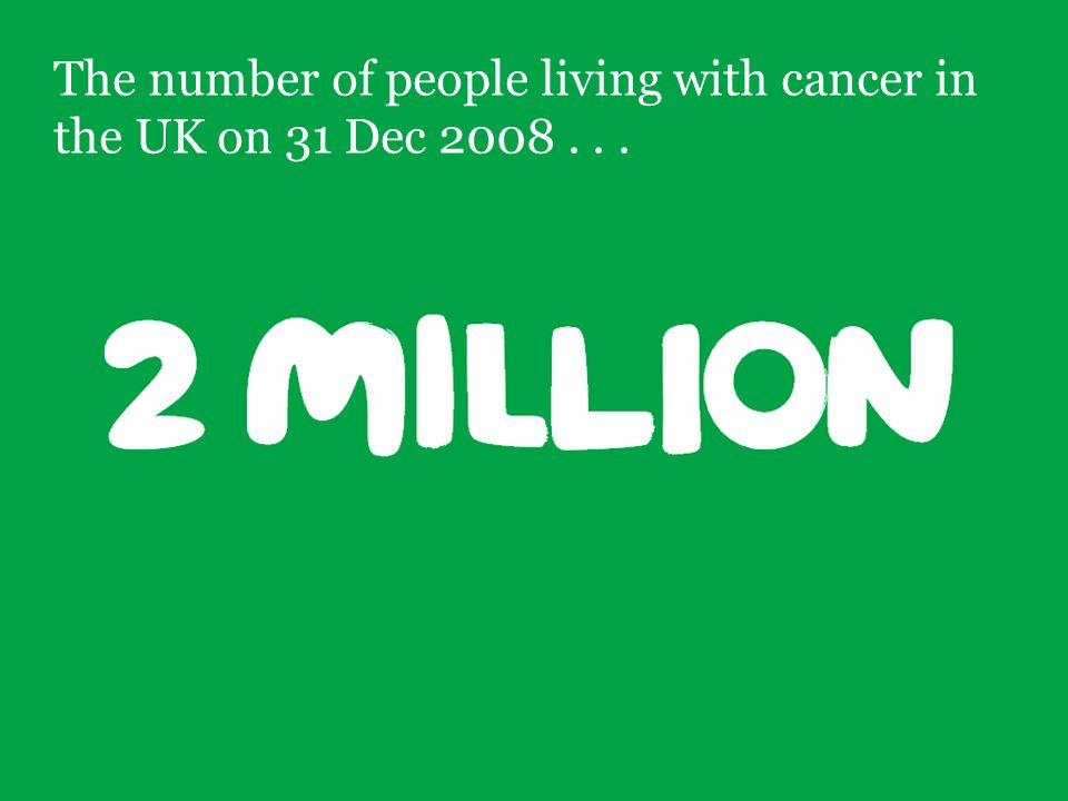 3 The number of people living with cancer in the UK on 31 Dec 2008...