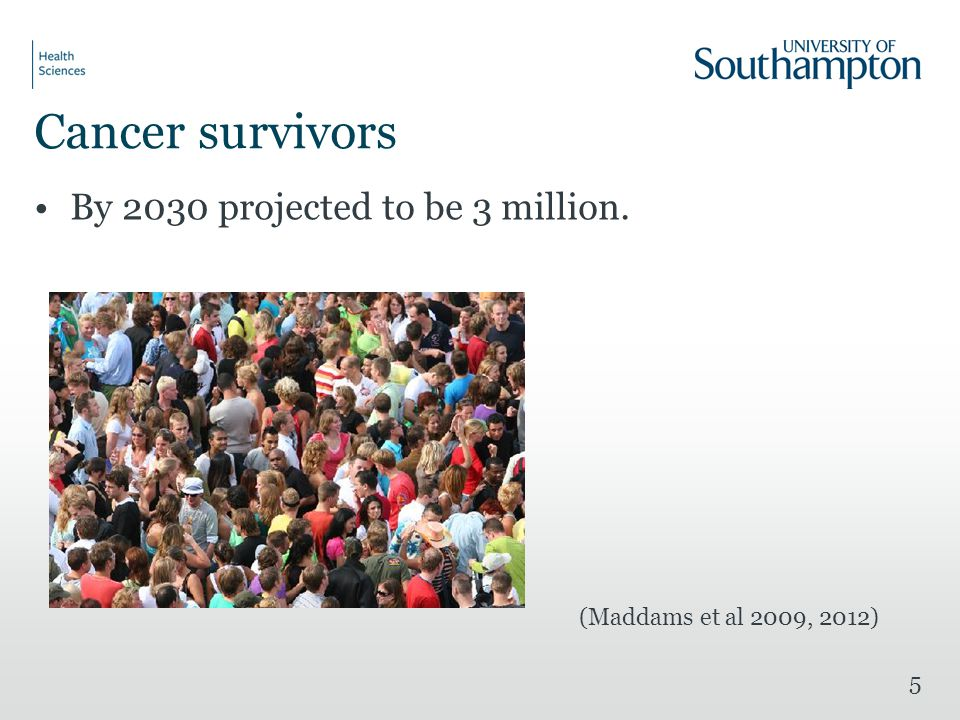 Cancer survivors By 2030 projected to be 3 million. (Maddams et al 2009, 2012) 5