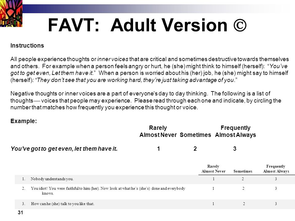 31 FAVT: Adult Version  Instructions All people experience thoughts or inner voices that are critical and sometimes destructive towards themselves and others.