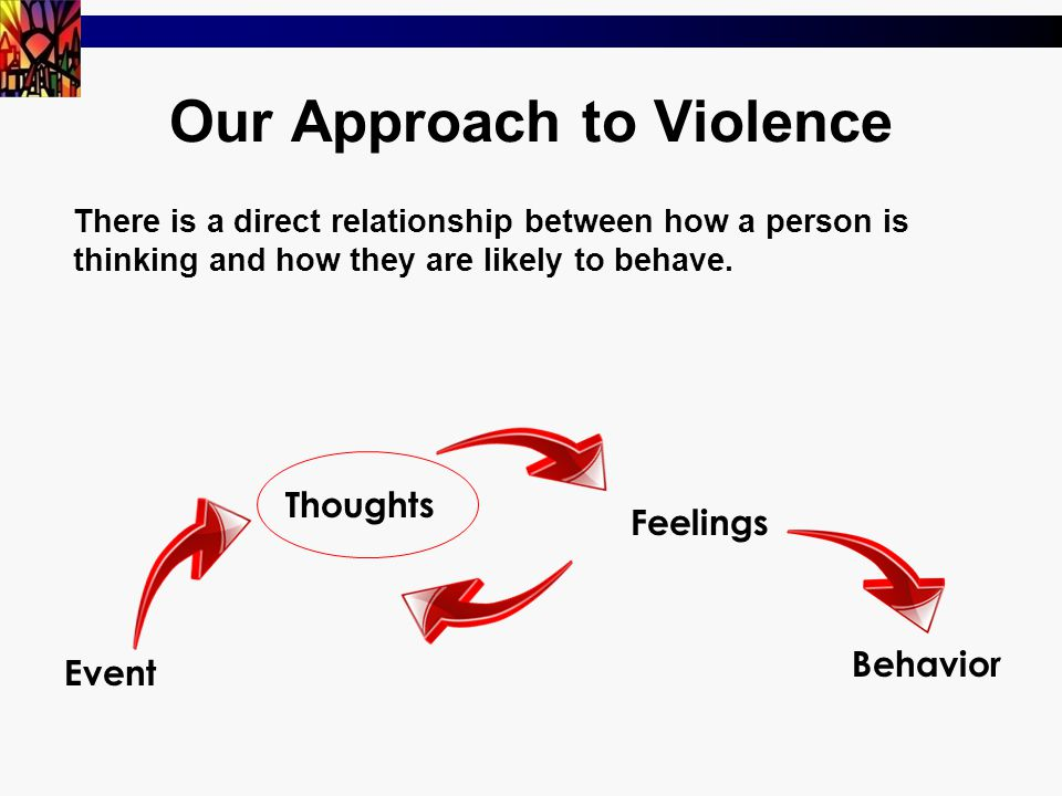 Our Approach to Violence There is a direct relationship between how a person is thinking and how they are likely to behave.