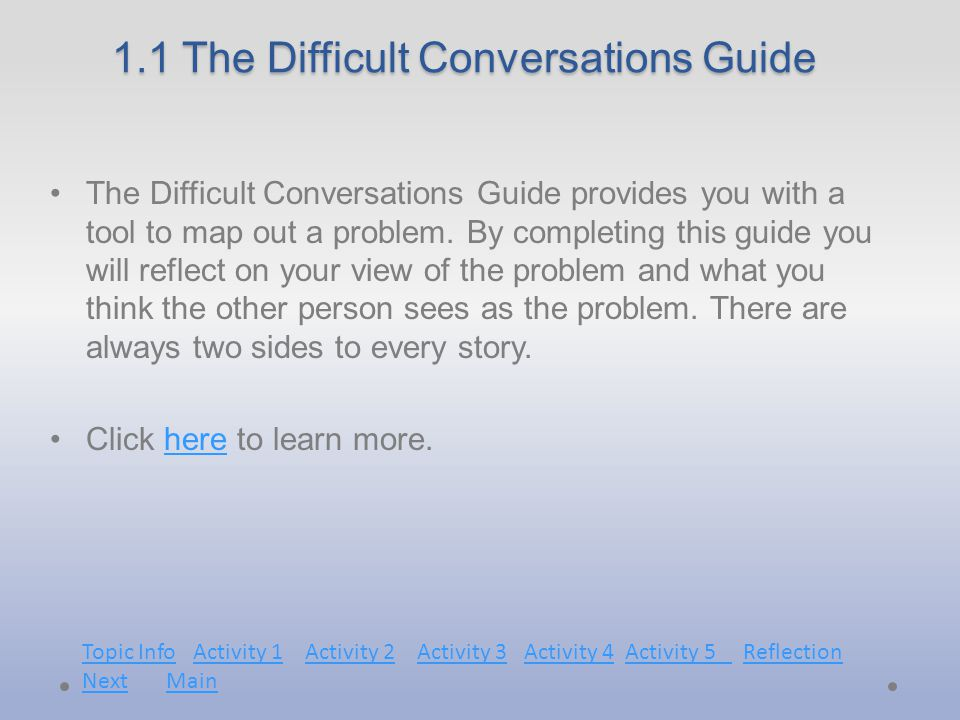 1.1 The Difficult Conversations Guide The Difficult Conversations Guide provides you with a tool to map out a problem.