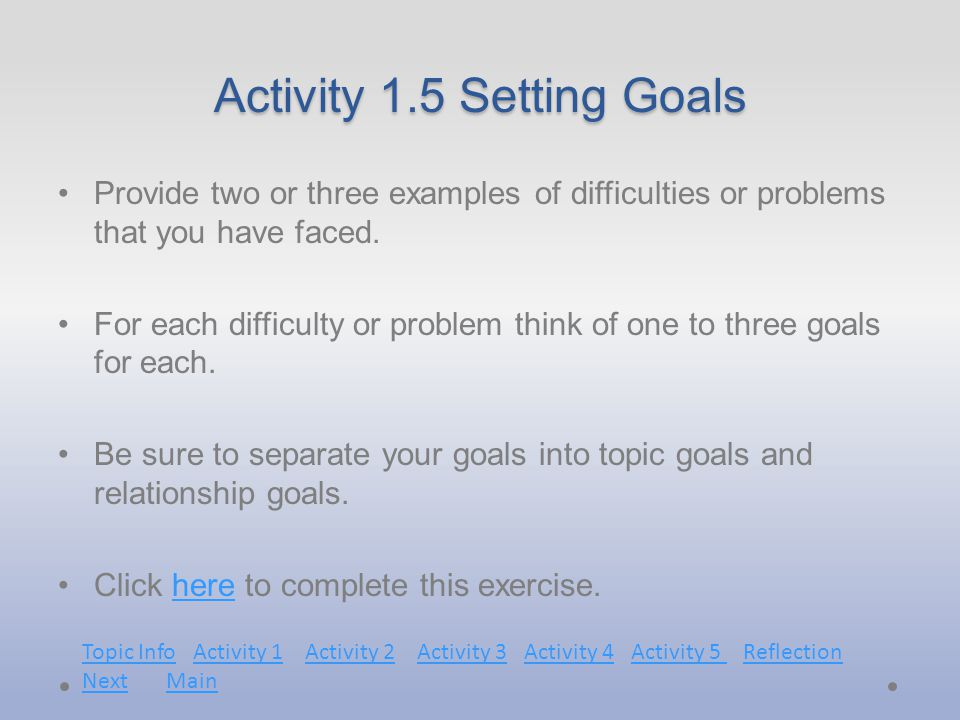 Activity 1.5 Setting Goals Provide two or three examples of difficulties or problems that you have faced.