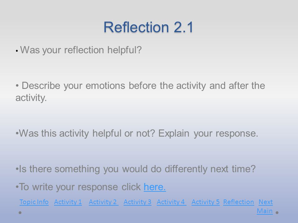 Reflection 2.1 Was your reflection helpful.