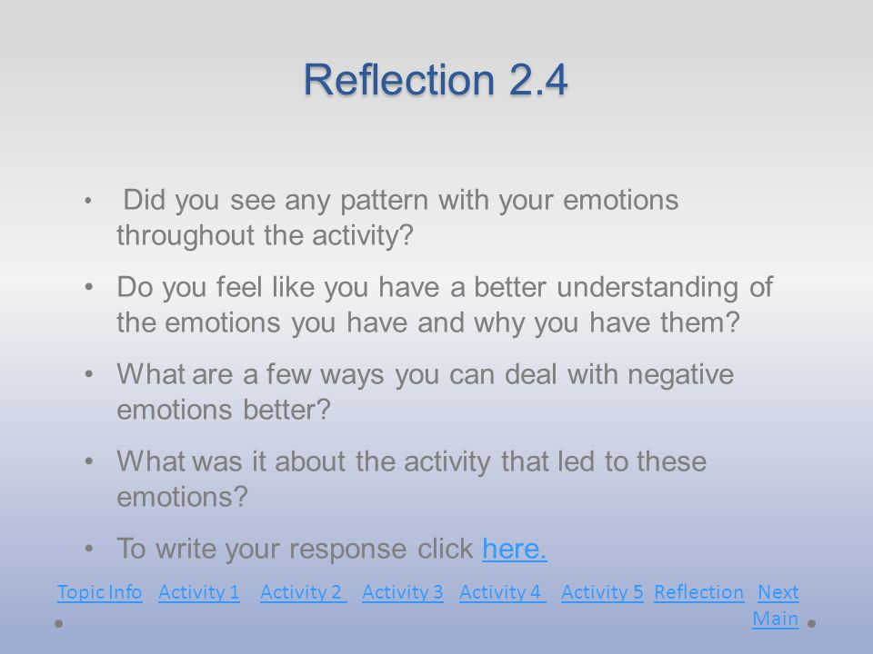 Reflection 2.4 Did you see any pattern with your emotions throughout the activity.