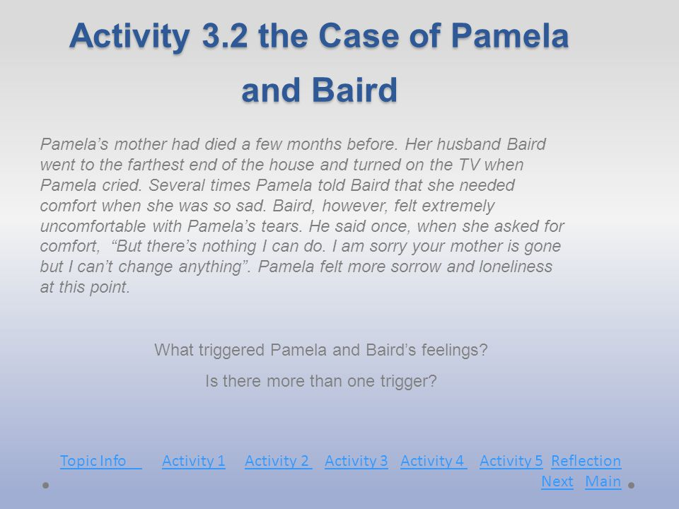 Activity 3.2 the Case of Pamela and Baird What triggered Pamela and Baird's feelings.