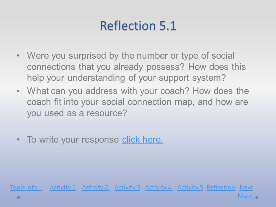 Reflection 5.1 Were you surprised by the number or type of social connections that you already possess.