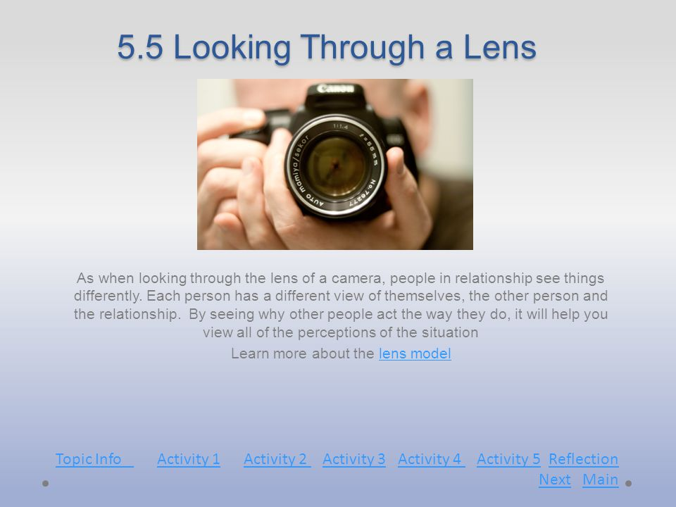 5.5 Looking Through a Lens As when looking through the lens of a camera, people in relationship see things differently.