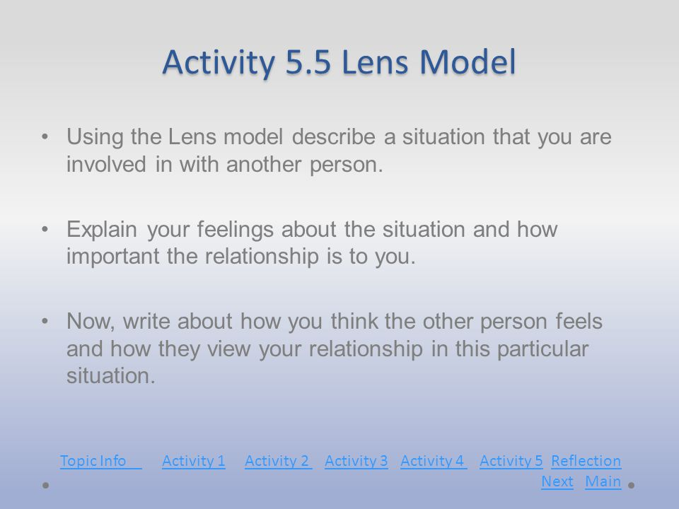 Activity 5.5 Lens Model Using the Lens model describe a situation that you are involved in with another person.