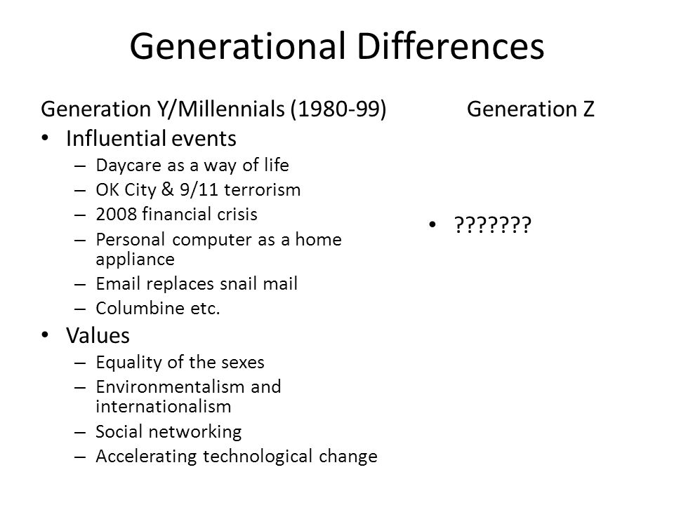 Generational Differences Generation Y/Millennials (1980-99) Influential events – Daycare as a way of life – OK City & 9/11 terrorism – 2008 financial crisis – Personal computer as a home appliance – Email replaces snail mail – Columbine etc.