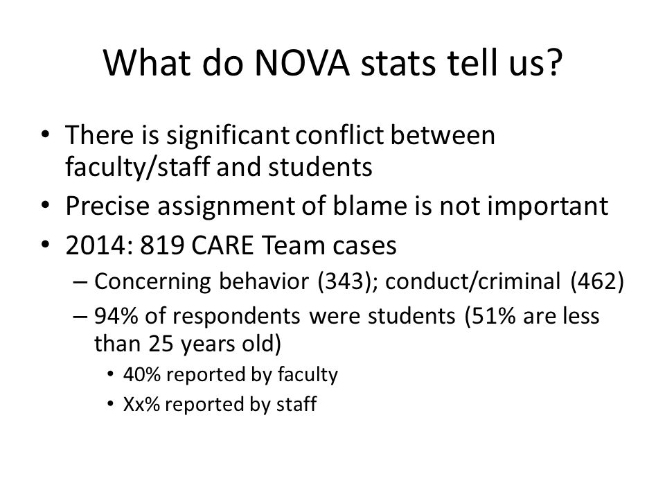 What do NOVA stats tell us.