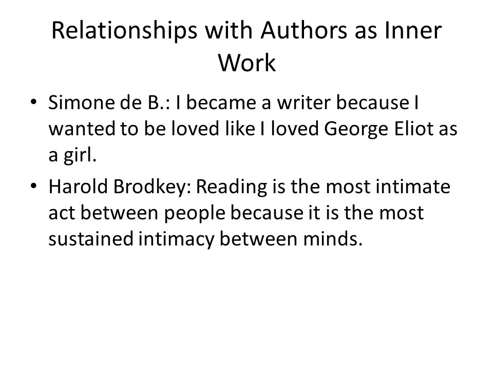 Relationships with Authors as Inner Work Simone de B.: I became a writer because I wanted to be loved like I loved George Eliot as a girl.