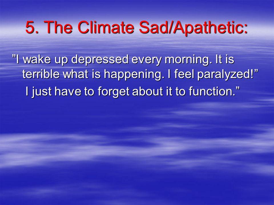5. The Climate Sad/Apathetic: I wake up depressed every morning.