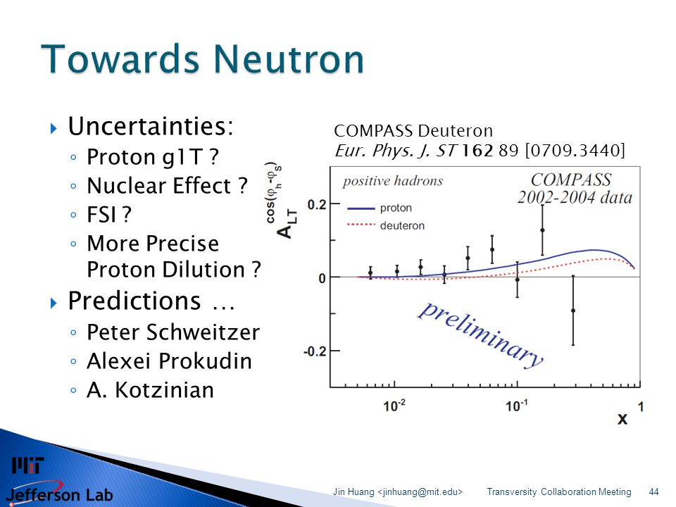 Uncertainties: ◦ Proton g1T ? ◦ Nuclear Effect ? ◦ FSI ? ◦ More Precise Proton Dilution ?  Predictions … ◦ Peter Schweitzer ◦ Alexei Prokudin ◦ A.