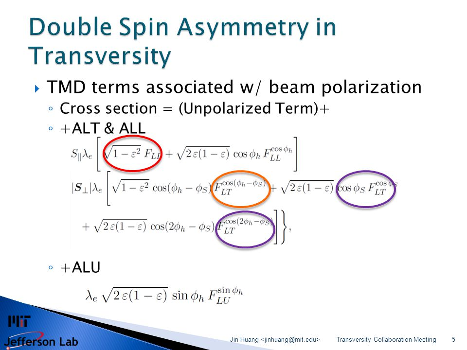  TMD terms associated w/ beam polarization ◦ Cross section = (Unpolarized Term)+ ◦ +ALT & ALL ◦ +ALU Transversity Collaboration Meeting Jin Huang 5