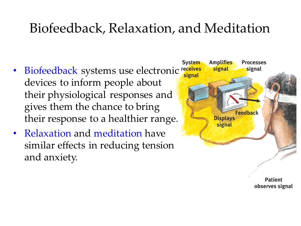 Biofeedback, Relaxation, and Meditation Biofeedback systems use electronic devices to inform people about their physiological responses and gives them